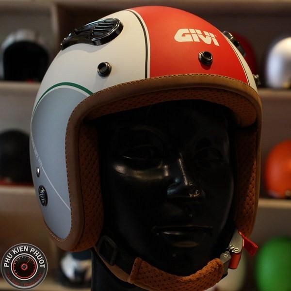 Nón bảo hiểm 3/4 givi, givi Duho cafe racer, nón bảo hiểm duho graphics tricolour Ice White