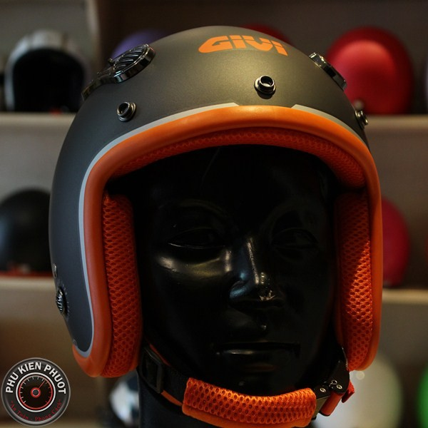 Mũ bảo hiểm 3/4 givi, givi cafe racer, mũ bảo hiểm duho matt titaniuom