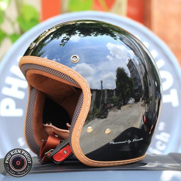 non bảo hiểm sunda 390 đen bóng kim tuyến , nón 3/4 sunda , nón sunda vintage
