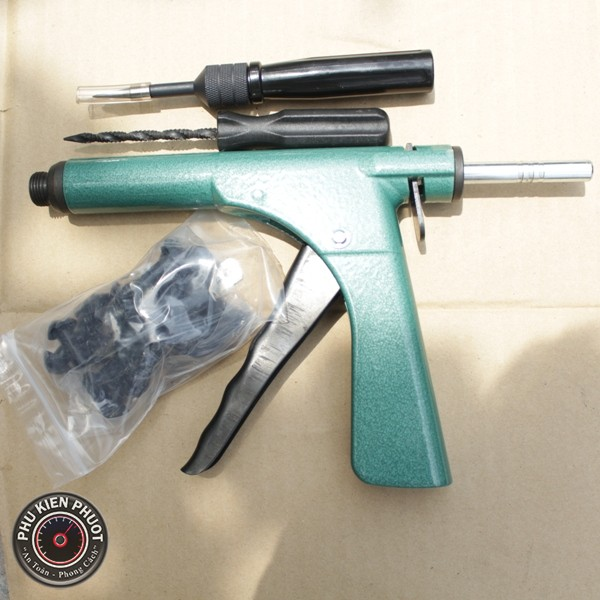 bộ vá xe stop & go bằng súng, bơm vá xe không ruột cao cấp