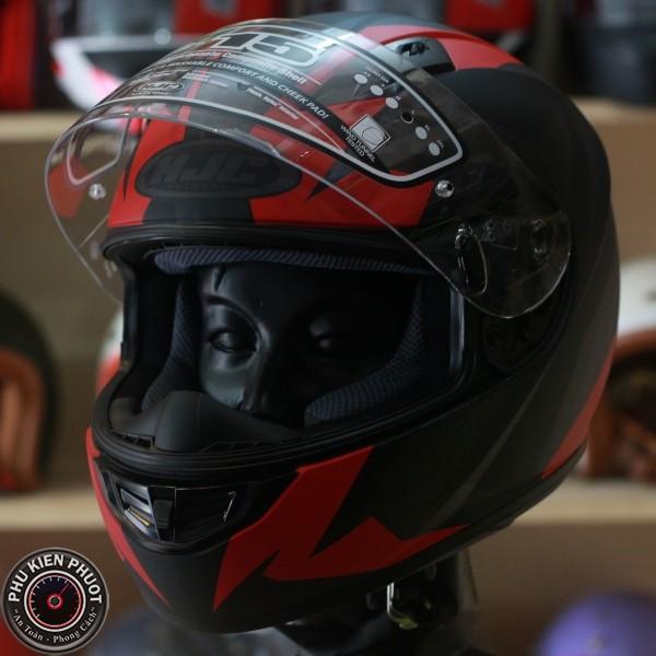 non hjc fullface, nón hjc , nón fullface 1 kính màu đen đỏ