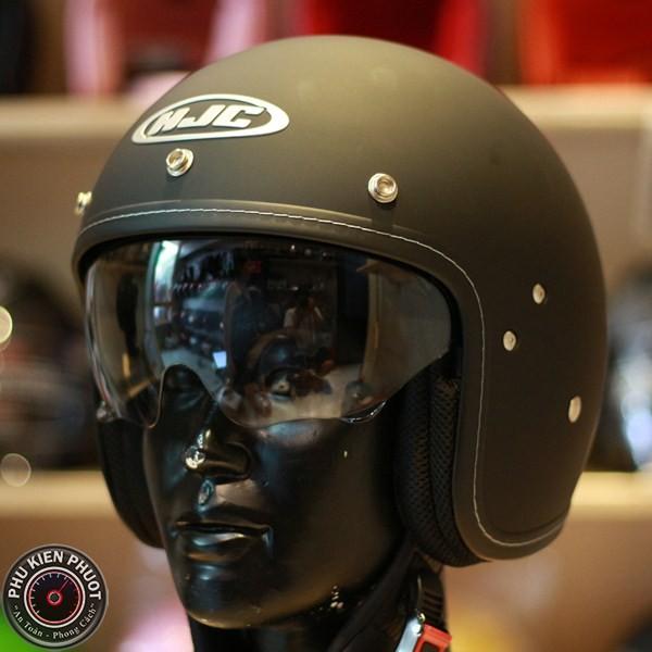Nón bảo hiểm hjc cổ điển, mũ bảo hiểm fg 70s đen nhám