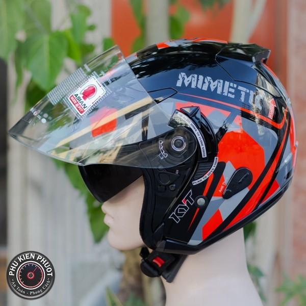 Nón kyt  , mũ kyt , nón bảo hiểm 3/4 kyt mimetic red gloss