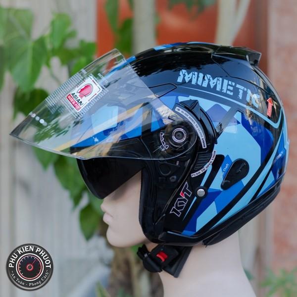 Nón kyt  , mũ kyt , nón bảo hiểm 3/4 kyt mimetic blue gloss