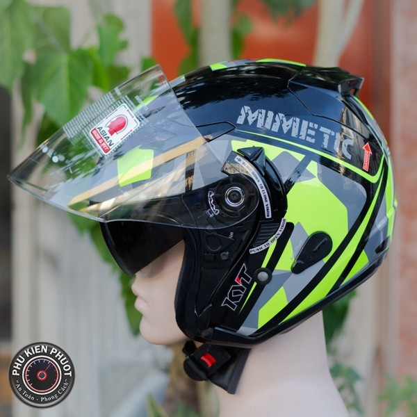 Nón kyt  , mũ kyt , nón bảo hiểm 3/4 kyt mimetic fluo gloss