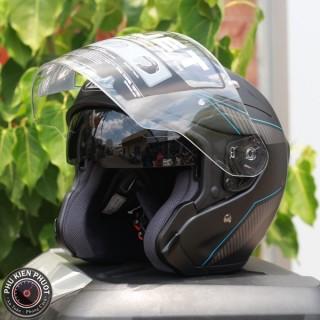 Nón hjc fg jet đen xanh, nón fg-jet chính hãng, nón hjc sợi thủy tinh