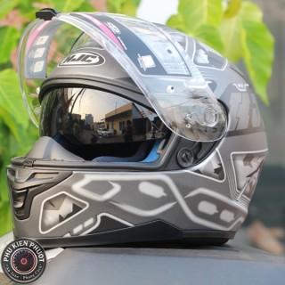 Nón hjc is17 chính hãng cho người đi moto xe máy, hjc 2 kính chính hãng