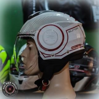 mũ sunda 227 trắng đỏ bóng , nón bảo hiểm sunda 227 , sunda 227 hoa văn